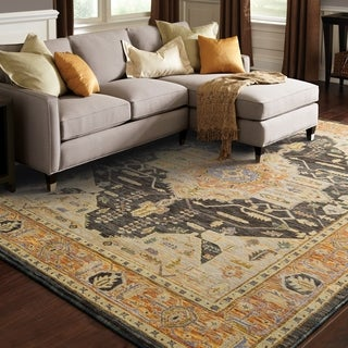 """The Curated Nomad Gladys Medallion Gold/ Grey Area Rug - 5'3"""" x 7'3"""""""