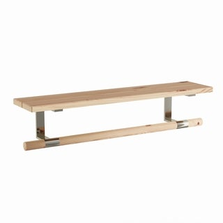 Carbon Loft Gutenberg Brown Wood and Stainless Steel Wall Shelf