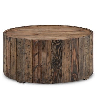 Pine Canopy Periwinkle Rustic Reclaimed Pine Round Coffee Table With Casters