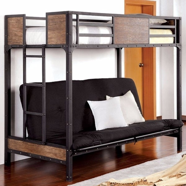 Shop Wooden Metal Twin Futon Base Bunk Bed Black On Sale Free