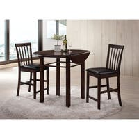 Wooden 3 Piece Pack Counter Height Set, Espresso & Black