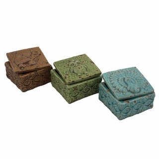Delightful Ceramic Decoration Boxes, Brown, Green And Blue, Set Of 3