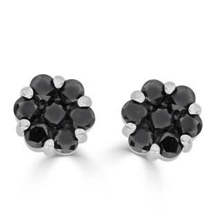 1.60 cttw Round Treated Black Diamond 925 Sterling Silver Ladies Flower Cluster Stud Earrings