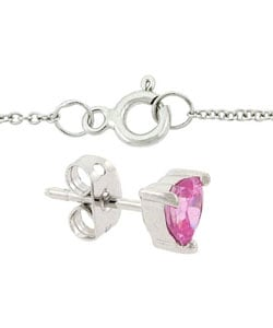 Icz Stonez Sterling Silver Pink CZ Heart Pendant and Earring Set - Thumbnail 1