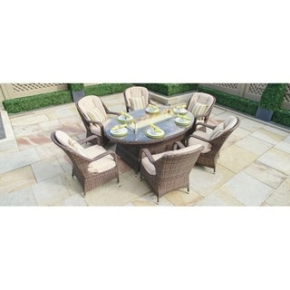 Turnbury Outdoor 7 Piece Patio Wicker Gas Fire Pit Set Oval Table with Arm Chairs by Direct Wicker