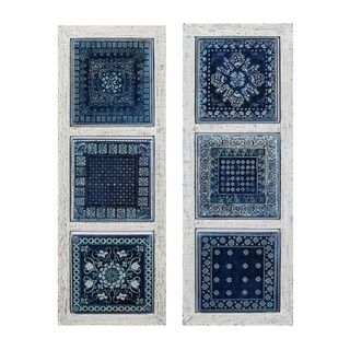 Aesthetic Assortment of 2 Wall D?cor with wood Frame Blue and White