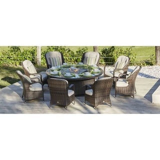 Turnbury Outdoor 9 Piece Patio Wicker Gas Fire Pit Set Round Table with Arm Chairs by Direct Wicker