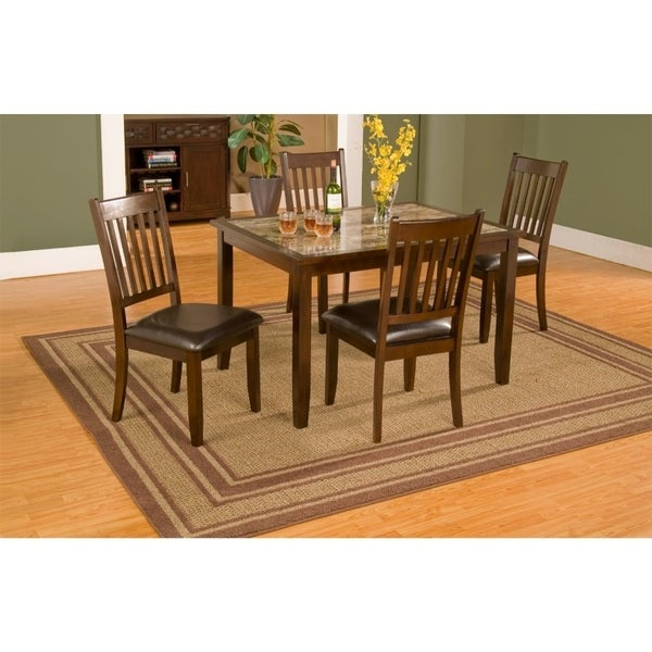 5 Piece Dining Set In Rubberwood With Faux Marble Top Brown