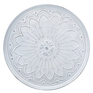 High on Creativity Metal Round Stamped Wall D?cor, White