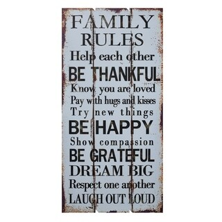 Worthwhile Piece Wooden Wall Sign - Family Rules, White