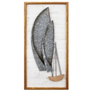Redefined Style Metal and Wood Framed Sailboat, White
