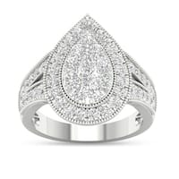 De Couer 14k White Gold 1ct TDW Diamond Pear Shaped Engagement Ring