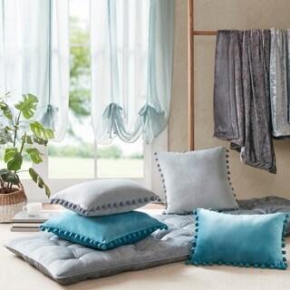 Intelligent Design Ania Poly Velvet Pom Pom Pillow