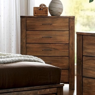 Transitional Style Wooden Chest With Metal Handle Pulls, Brown