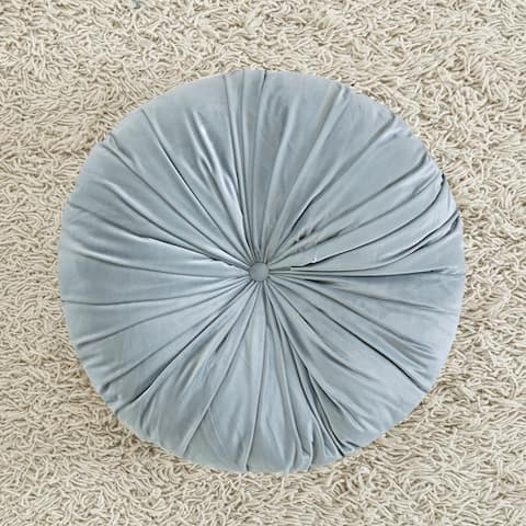 Intelligent Designs Aliza Poly Velvet Round Floor Pillow Cushion 2 Color Options