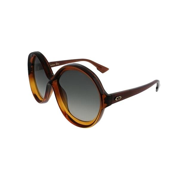 1434b173a8 Dior Round Bianca 12J Women Brown Orange Frame Grey Gradient Lens Sunglasses