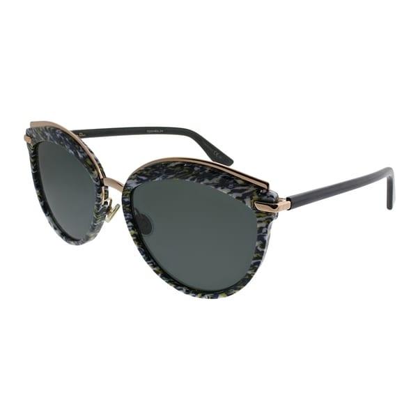 3067bcb1de Dior Cat-Eye Offset 2 9N7 2K Women Yellow Blue Tweed Pattern Frame Grey Lens