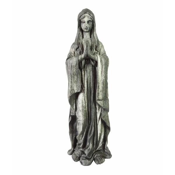 Divine Resin Magnesium Oxide Virgen Garden Decor, Gray