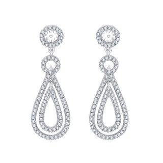 14K White Gold 1ct TDW Diamond Earring Drop Jackets ( I-J, I1)