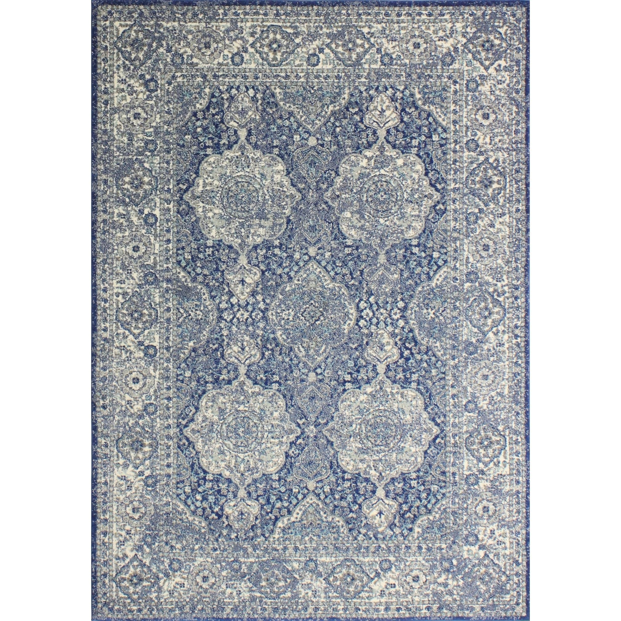 Alberta Dark Blue Transitional  Area Rug - 86 x 116 (Dark Blue - 86 x 116)