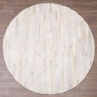 Pampas Handmade Leather Ivory Stripes Round Rug