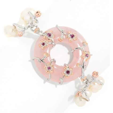 Michael Valitutti Palladium Silver Rose Quartz, Freshwater Cultured Pearl & Rhodolite Toggle Bracelet.