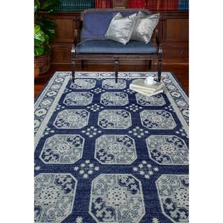 Nancy Dark Blue Transitional  Area Rug - 76 x 96 (Dark Blue - 76 x 96)