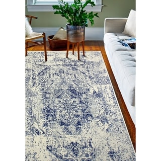 """Digna Ivory/Blue Transitional  Area Rug - 7'6"""" x 9'6"""""""