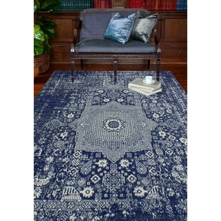 Dark Blue Transitional  Area Rug - 76 x 96 (Dark Blue - 76 x 96)