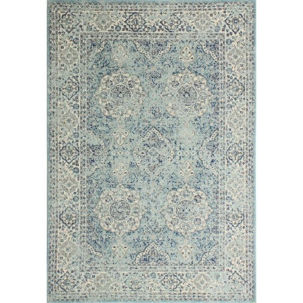 "Alberta Aqua Transitional Area Rug - 3'6"" x 5'6"""