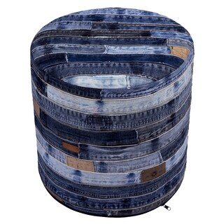 Re-purposed Blue Jeans 17-inch Pouf