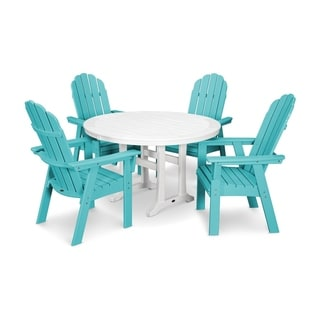 POLYWOOD® Vineyard Adirondack 5-Piece Nautical Trestle Dining Set
