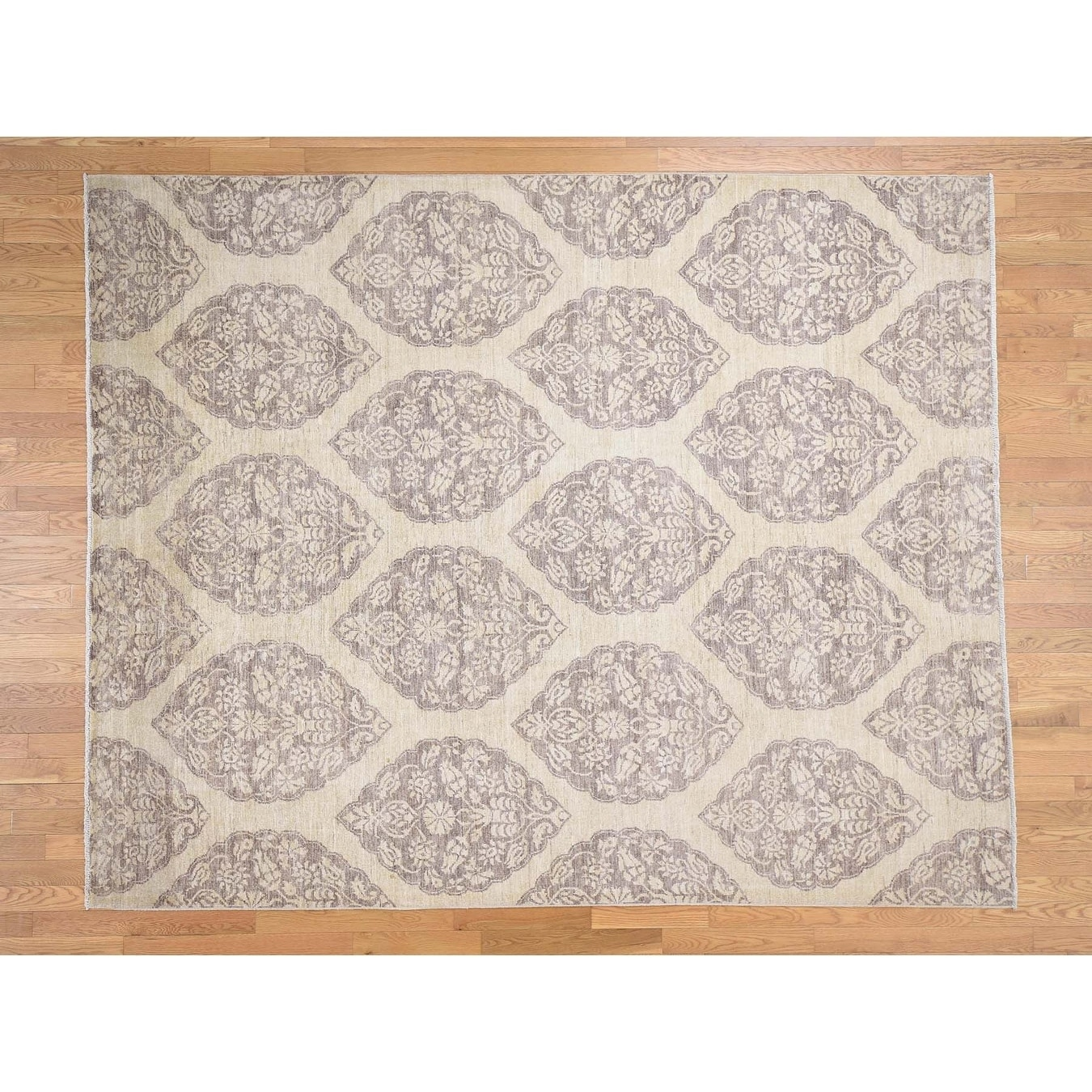 Hand Knotted Beige Oushak And Peshawar with Wool Oriental Rug - 81 x 102