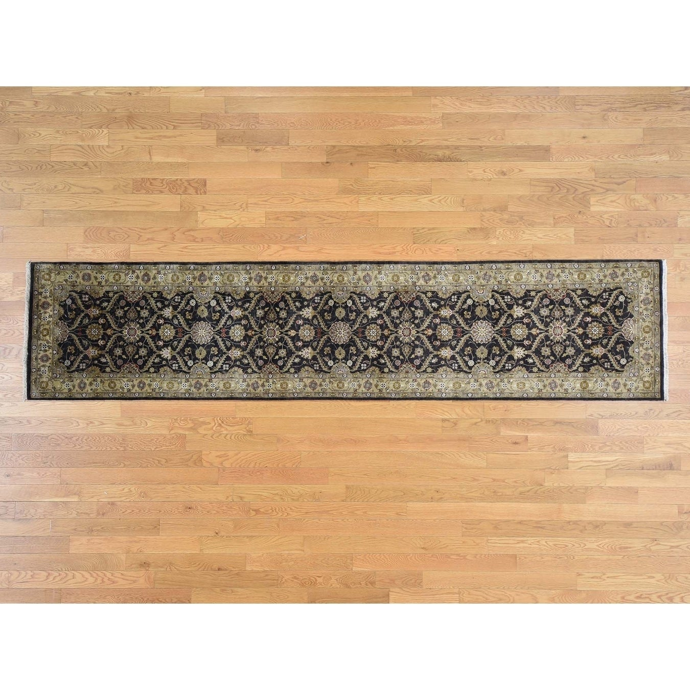 Hand Knotted Black Fine Oriental with Wool & Silk Oriental Rug