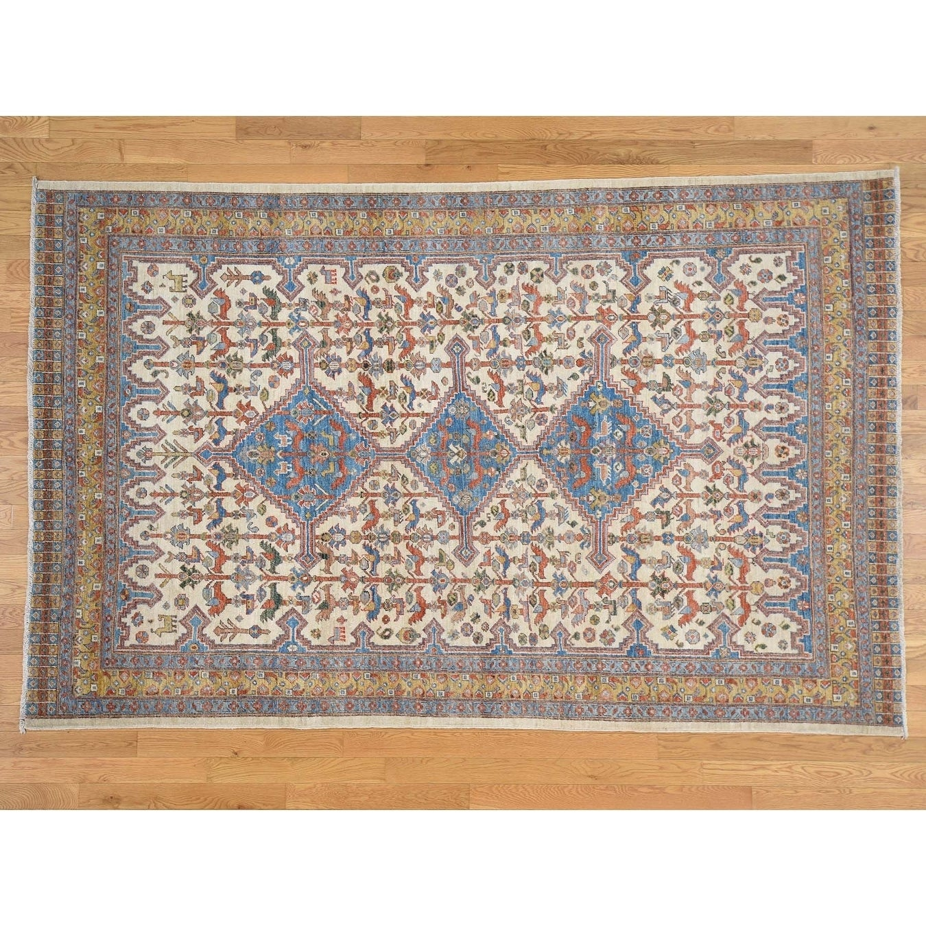 Hand Knotted Ivory Oushak And Peshawar with Wool Oriental Rug - 6 x 95