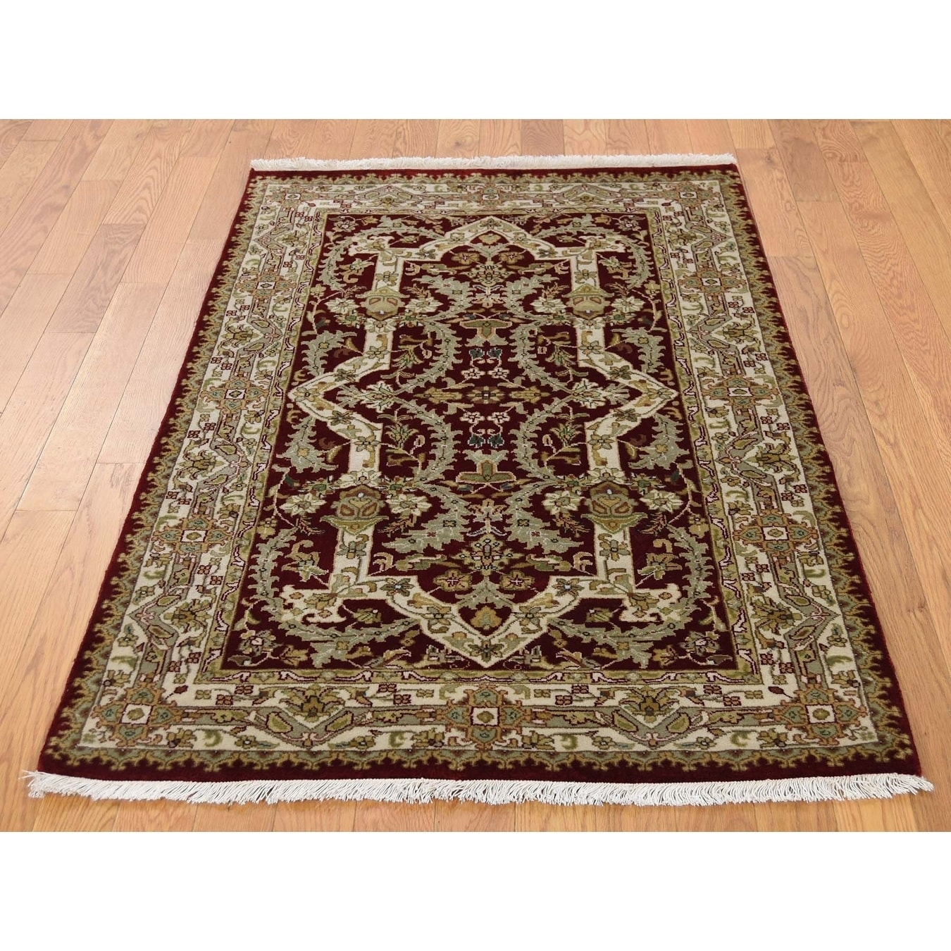 Hand Knotted Red Fine Oriental with Wool & Silk Oriental Rug - 3 x 51