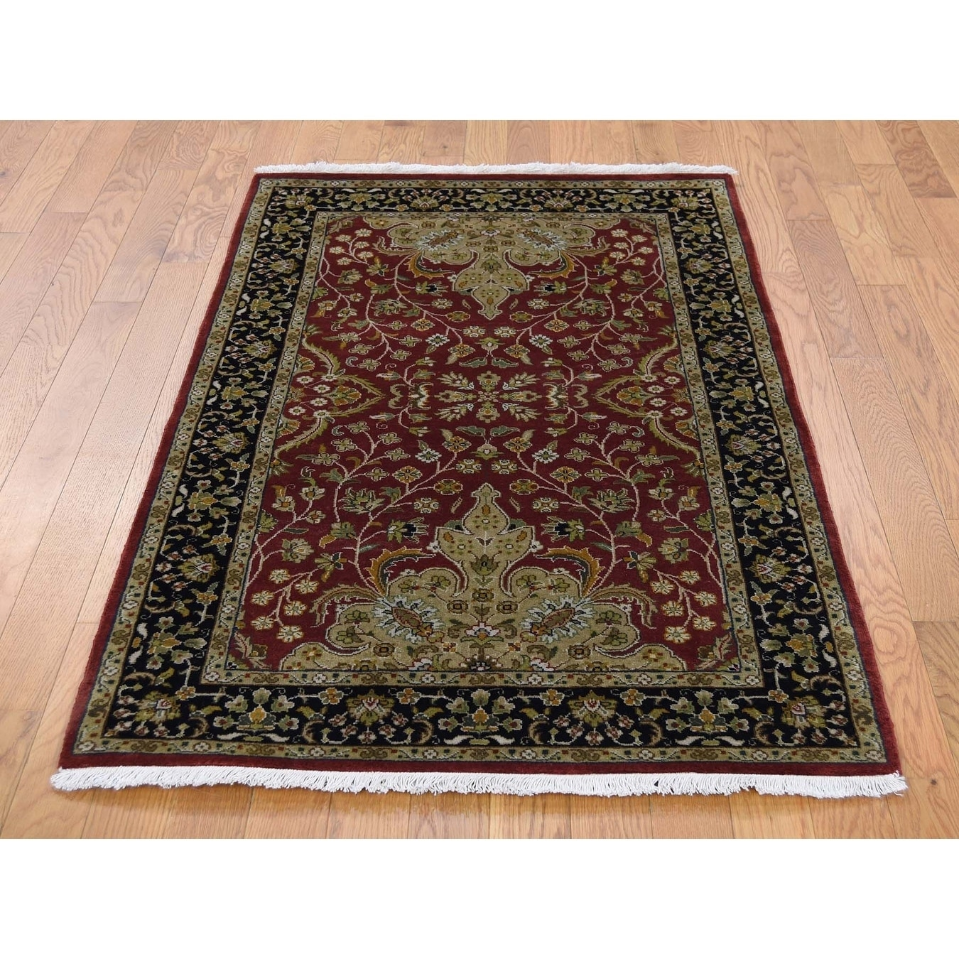 Hand Knotted Red Fine Oriental with New Zealand Wool Oriental Rug - 3 x 5