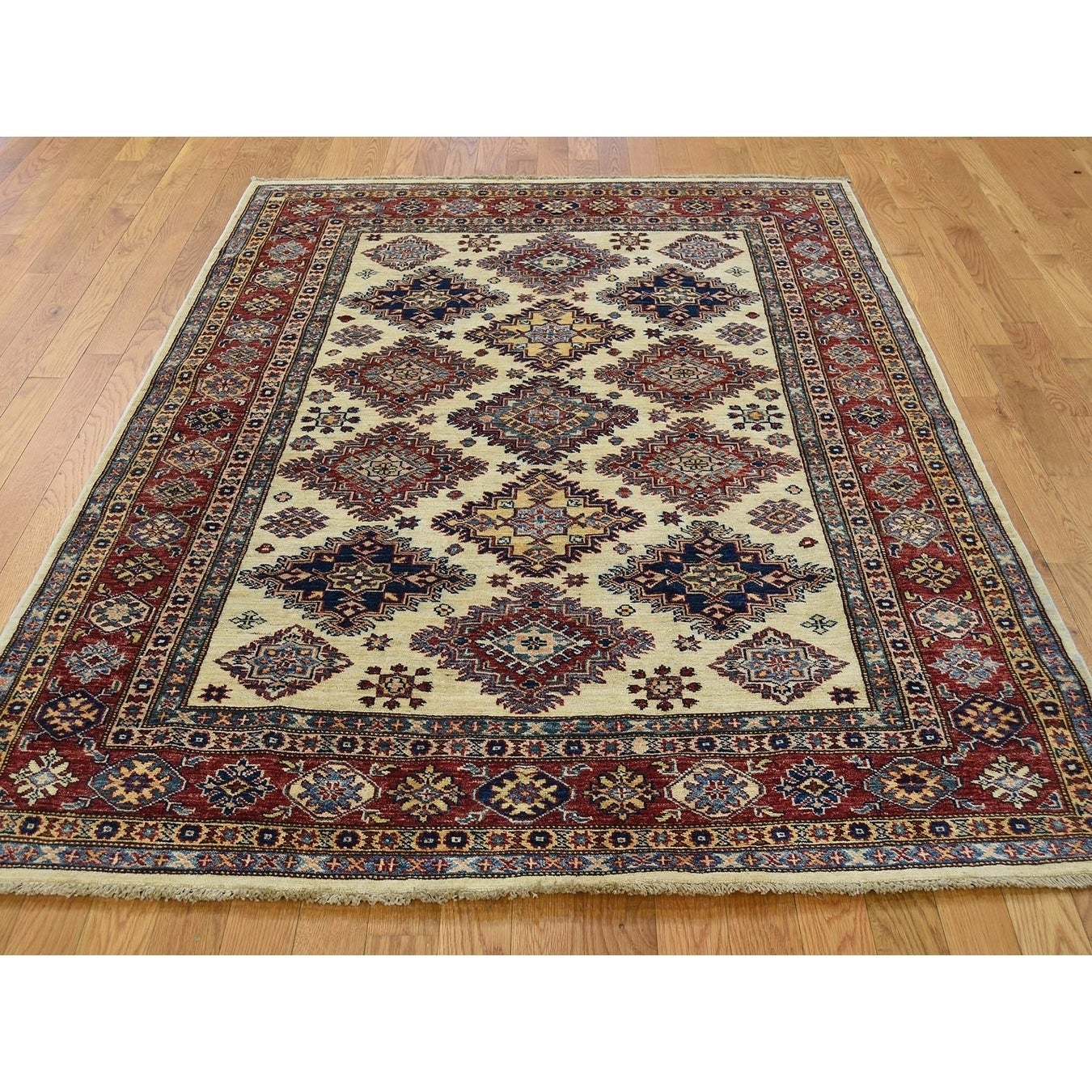 Hand Knotted Ivory Kazak with Wool Oriental Rug - 51 x 65