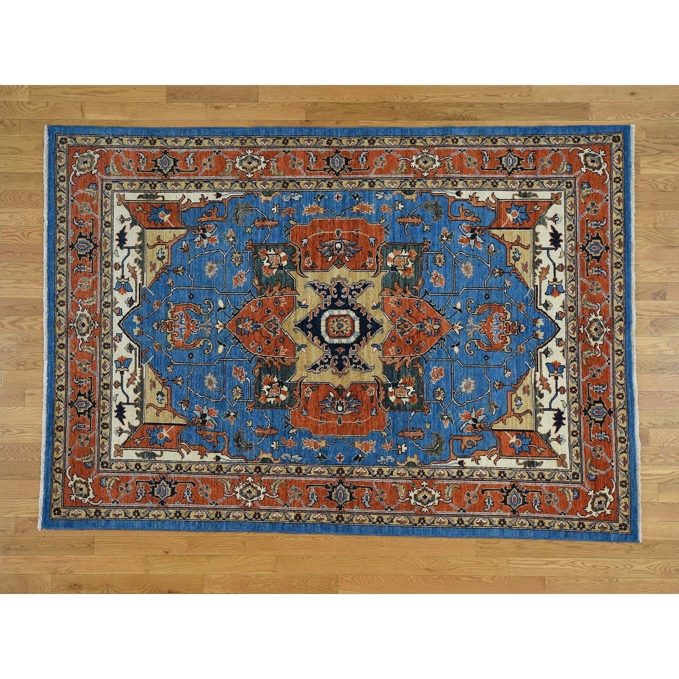 Hand Knotted Blue Heriz with Wool Oriental Rug - 61 x 88