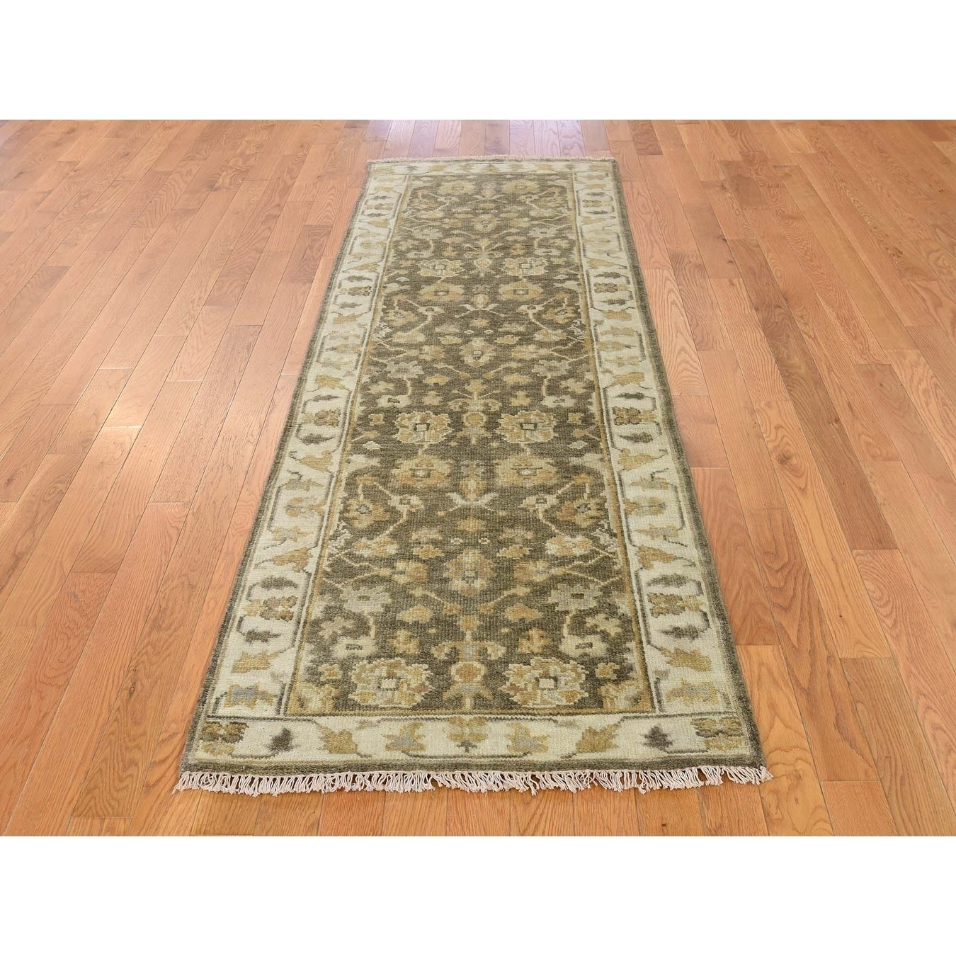 Hand Knotted Brown Oushak And Peshawar with Wool Oriental Rug - 27 x 8