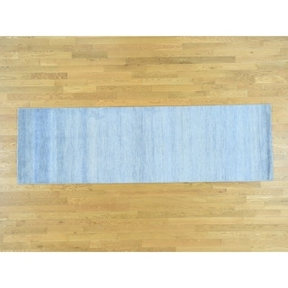 Hand Knotted Blue Modern & Contemporary with Wool & Silk Oriental Rug