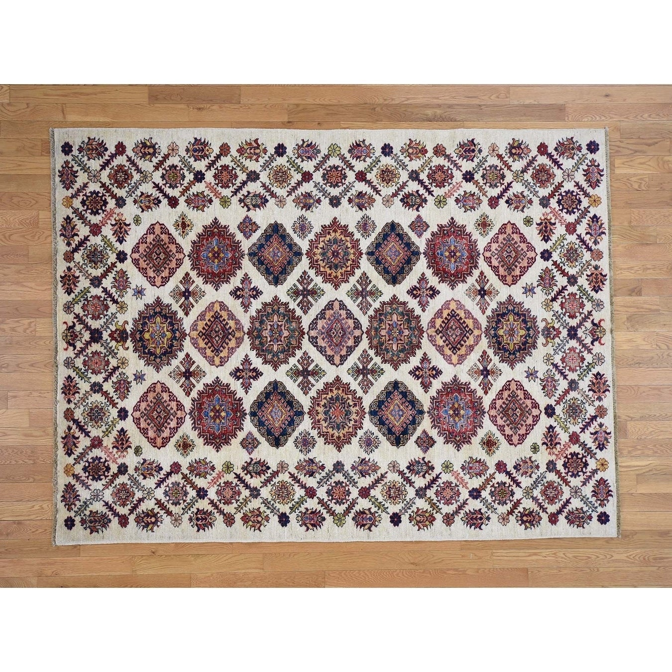 Hand Knotted Ivory Heriz with Wool Oriental Rug - 63 x 85