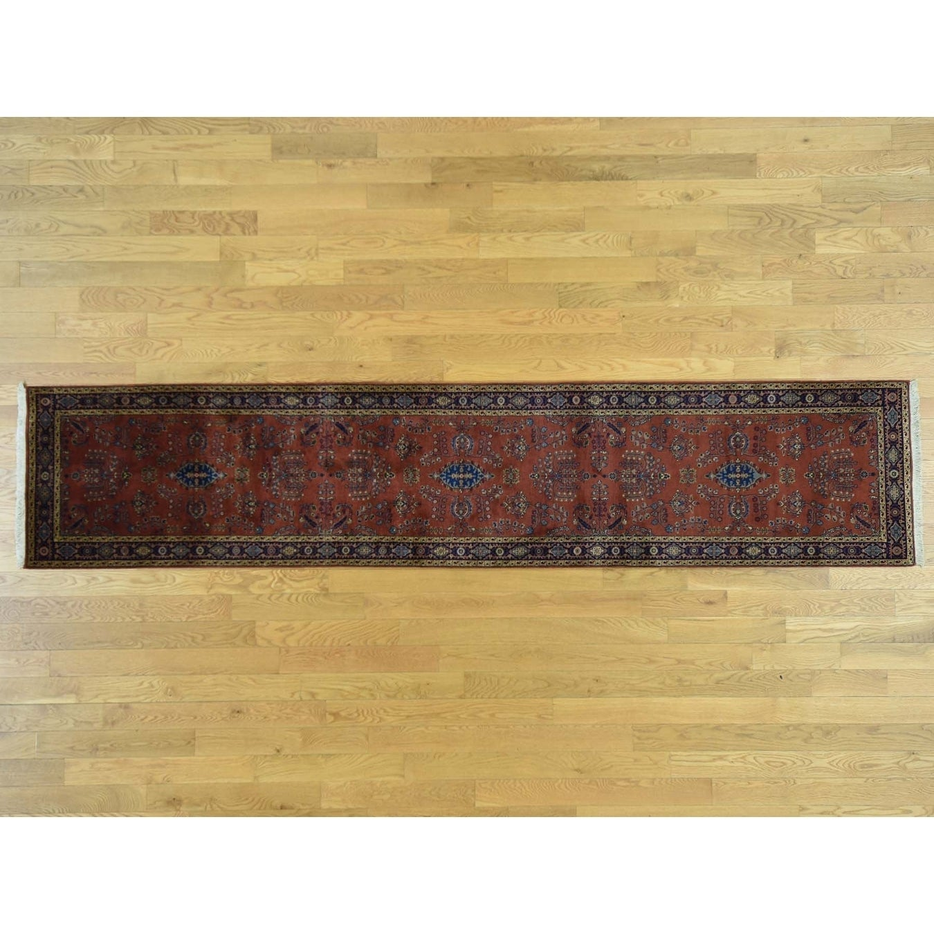 Hand Knotted Red Fine Oriental with New Zealand Wool Oriental Rug - 27 x 81