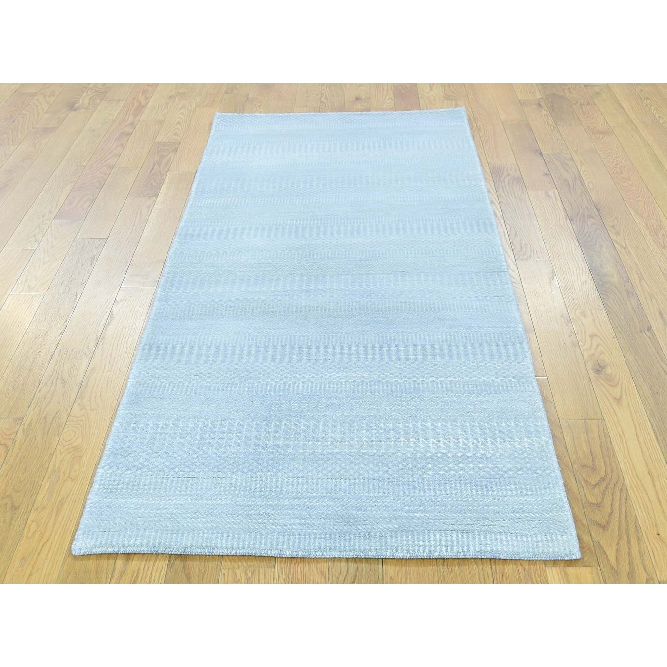 Hand Knotted Blue Modern & Contemporary with Wool & Silk Oriental Rug - 27 x 6