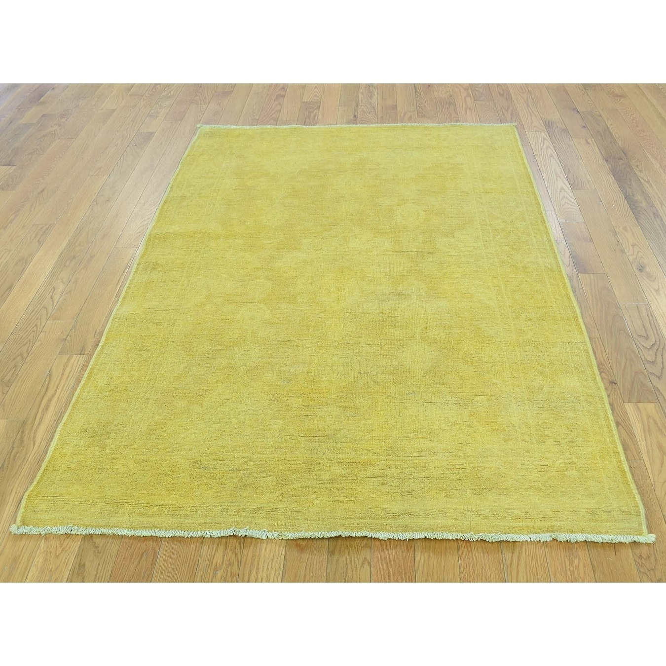Hand Knotted Yellow Overdyed & Vintage with Wool Oriental Rug - 42 x 59