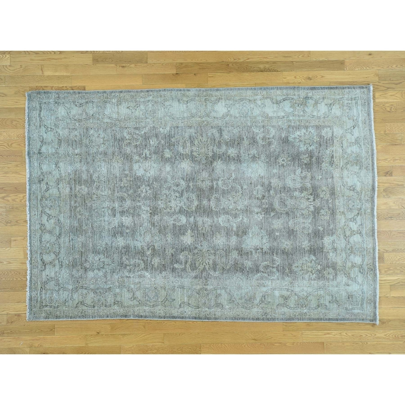Hand Knotted Grey White Wash Vintage & Silver Wash with Wool Oriental Rug - 6 x 88