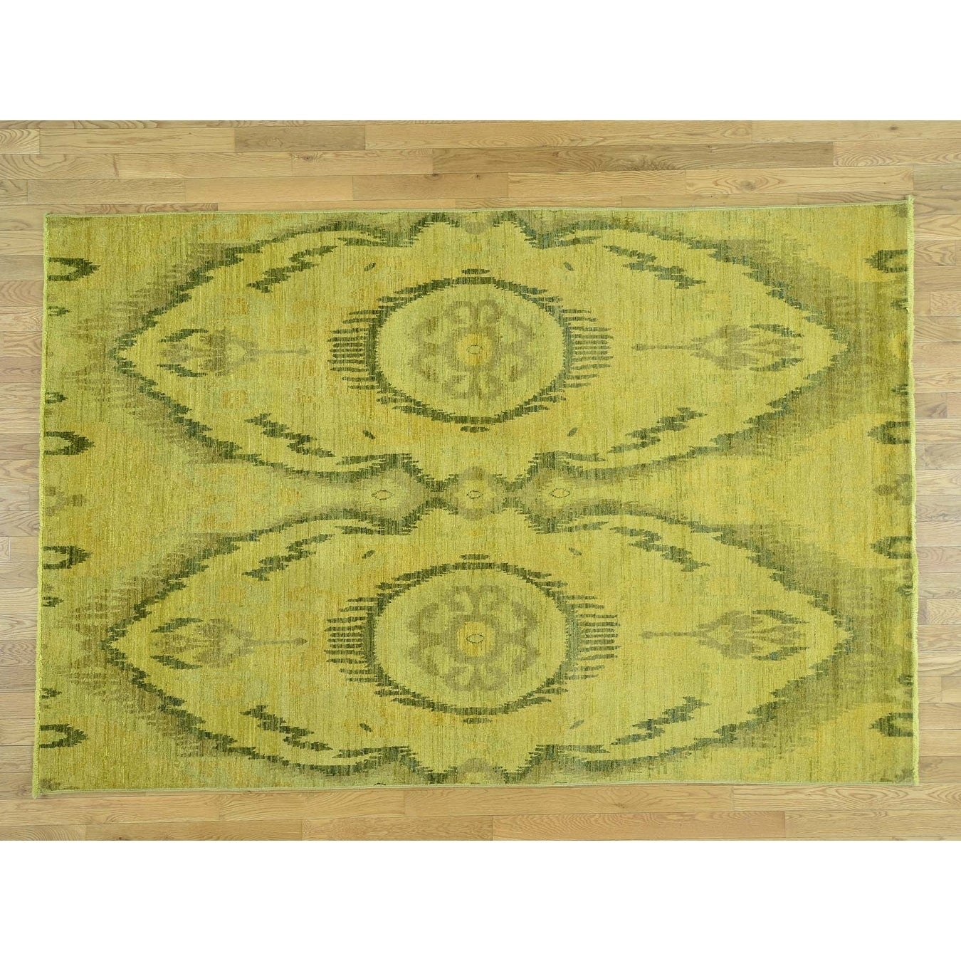 Hand Knotted Yellow Overdyed & Vintage with Wool Oriental Rug - 62 x 92