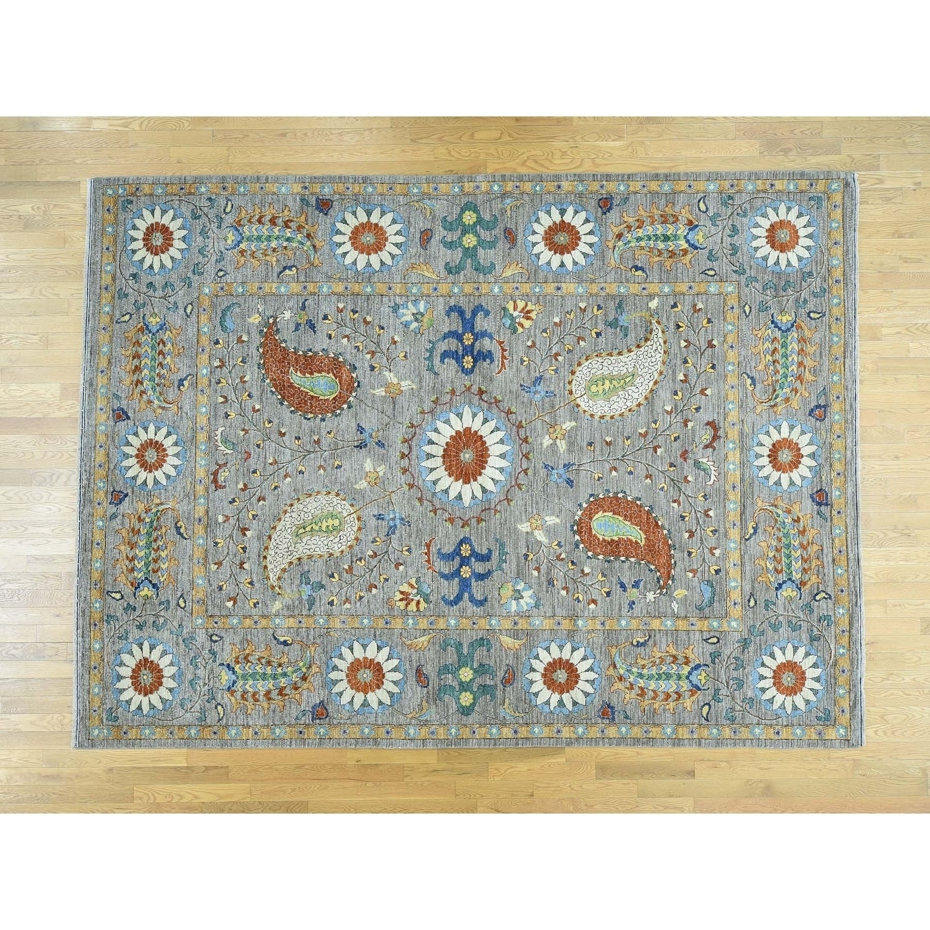 Hand Knotted Grey Oushak And Peshawar with Wool Oriental Rug - 8 x 103