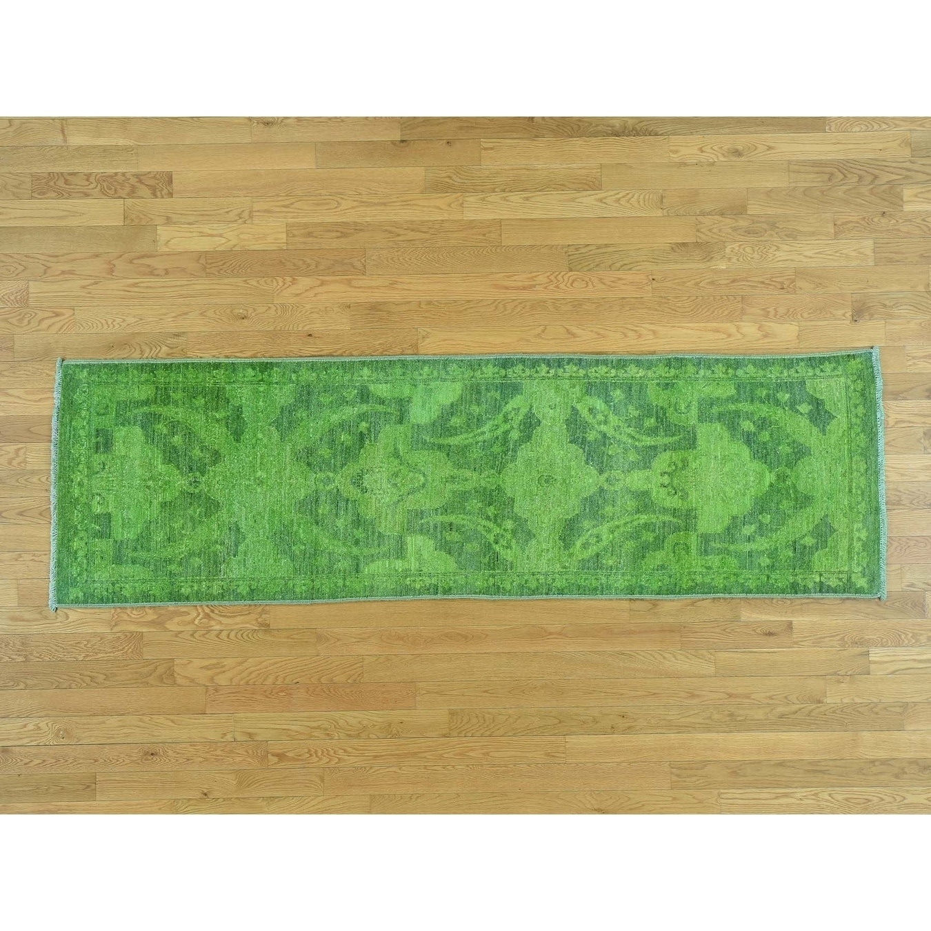 Hand Knotted Green Overdyed & Vintage with Wool Oriental Rug - 26 x 82