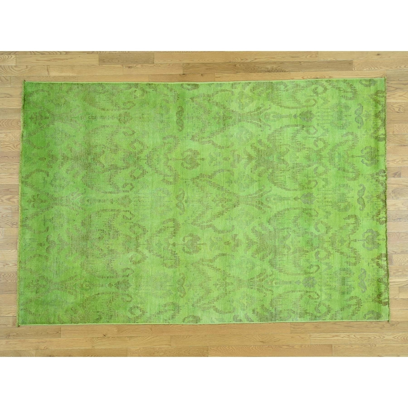 Hand Knotted Green Overdyed & Vintage with Wool Oriental Rug - 61 x 91